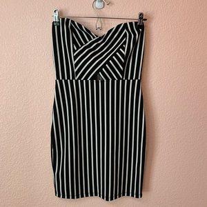 Fashion Nova Black and White Striped Bodycon Dress